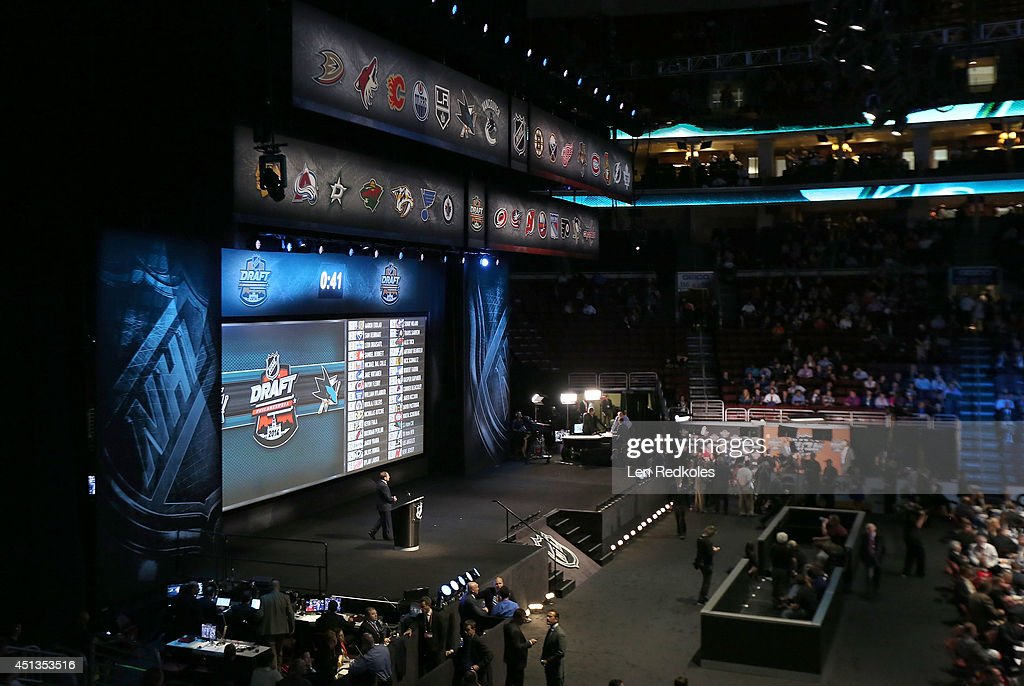A general view of the draft floor and stage as the clock winds down for the San Jose Sharks to make their choice on the 27th overall pick during the 2014 NHL Entry Draft at Wells Fargo Center on June 27, 2014 in Philadelphia, Pennsylvania.