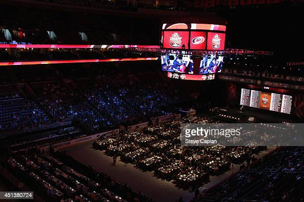 A general view of the draft floor as the Carolina Hurricanes make their pick during the 2014 NHL Entry Draft at Wells Fargo Center on June 28 2014 in...
