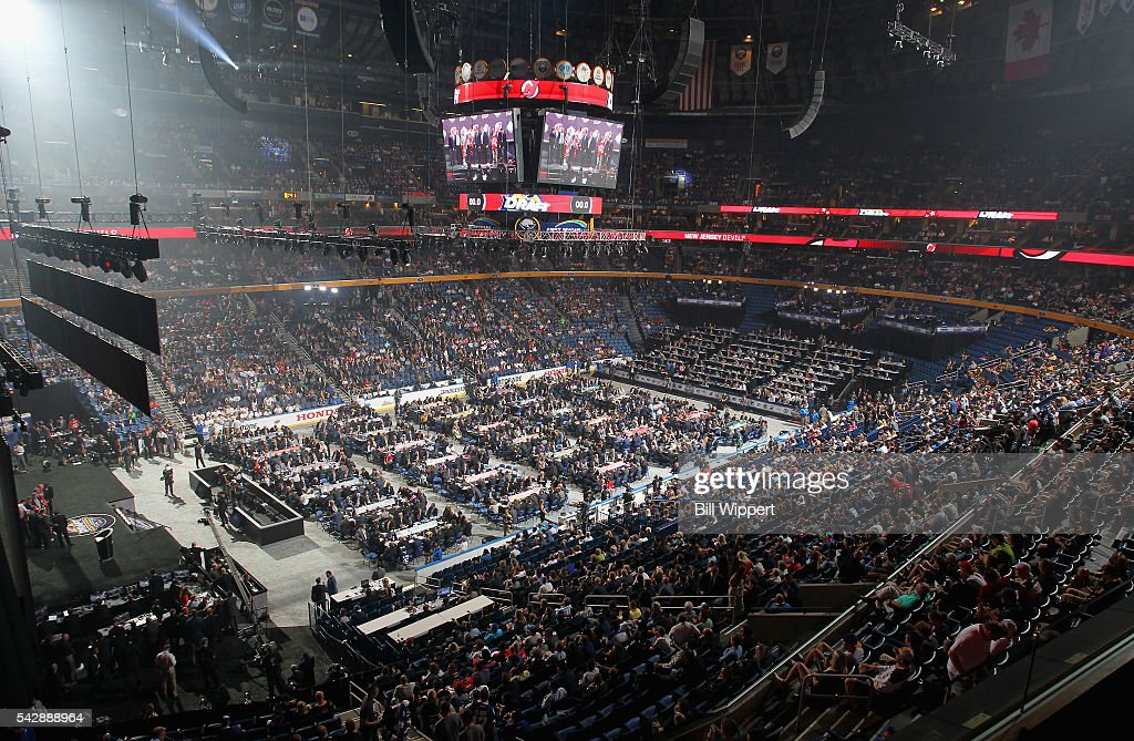 A general view of the draft floor is seen during round one of the 2016 NHL Draft at First Niagara Center on June 24, 2016 in Buffalo, New York.