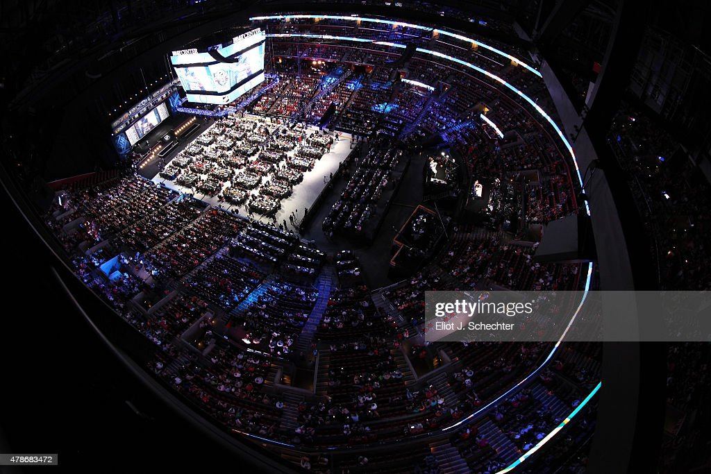 A general view of the draft floor is seen from above during Round One of the 2015 NHL Draft at BBT Center on June 26 2015 in Sunrise Florida