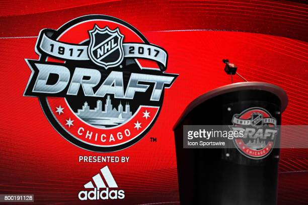 A general view of the Draft logo at the podium on stage prior to the first round of the 2017 NHL Draft on June 23 at the United Center in Chicago IL