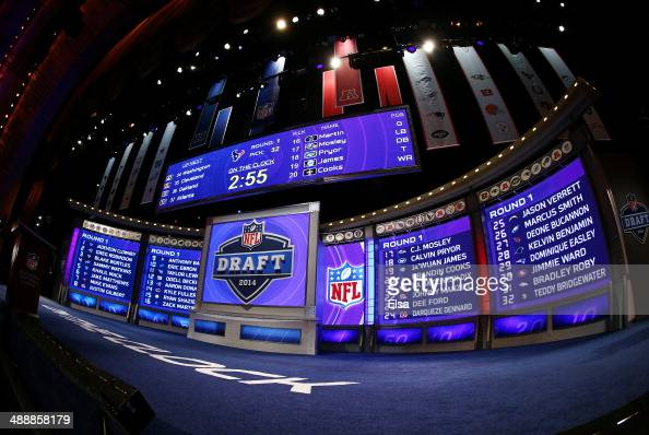 A general view of the draft stage after the first round of the 2014 NFL Draft at Radio City Music Hall on May 8 2014 in New York City