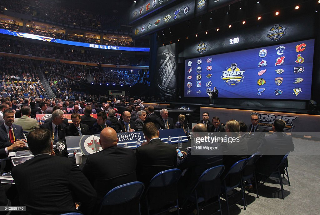 A general view of the draft stage is seen during round one of the 2016 NHL Draft at First Niagara Center on June 24, 2016 in Buffalo, New York.