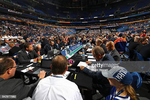 A general view of the draft table for the Vancouver Canucks during the 2016 NHL Draft on June 25 2016 in Buffalo New York