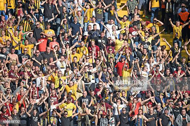 A general view of the Dresden supporters during the Third League match between Arminia Bielefeld and Dynamo Dresden at Schueco Arena on October 4...