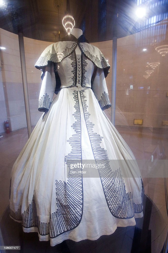 A general view of the dress worn by Scarlett O'Hara on 'Gone with the Wind' on display at the 'Moguls Movie Stars A History Of Hollywood' Exhibition...