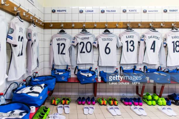 General view of the dressing room of France prior to the FIFA 2018 World Cup Qualifier between Luxembourg and France at Stade Josy Barthel on March...