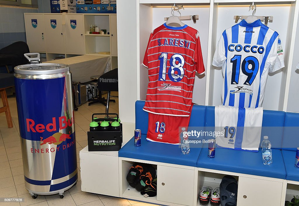 A general view of the dressing room of Pescara Calcio prior to the Serie B match between Pescara Calcio and Vicenza Calcio at Adriatico Stadium on February 12, 2016 in Pescara, Italy.