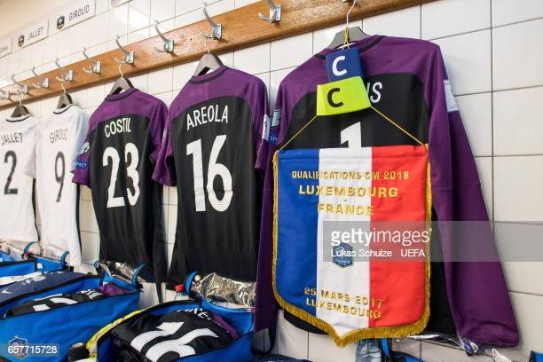 General view of the dressing room of team France prior to the FIFA 2018 World Cup Qualifier between Luxembourg and France at Stade Josy Barthel on...