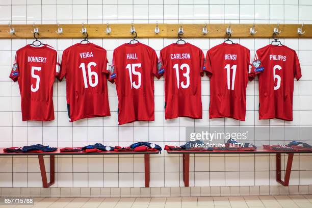 General view of the dressing room of team Luxembourg prior to the FIFA 2018 World Cup Qualifier between Luxembourg and France at Stade Josy Barthel...