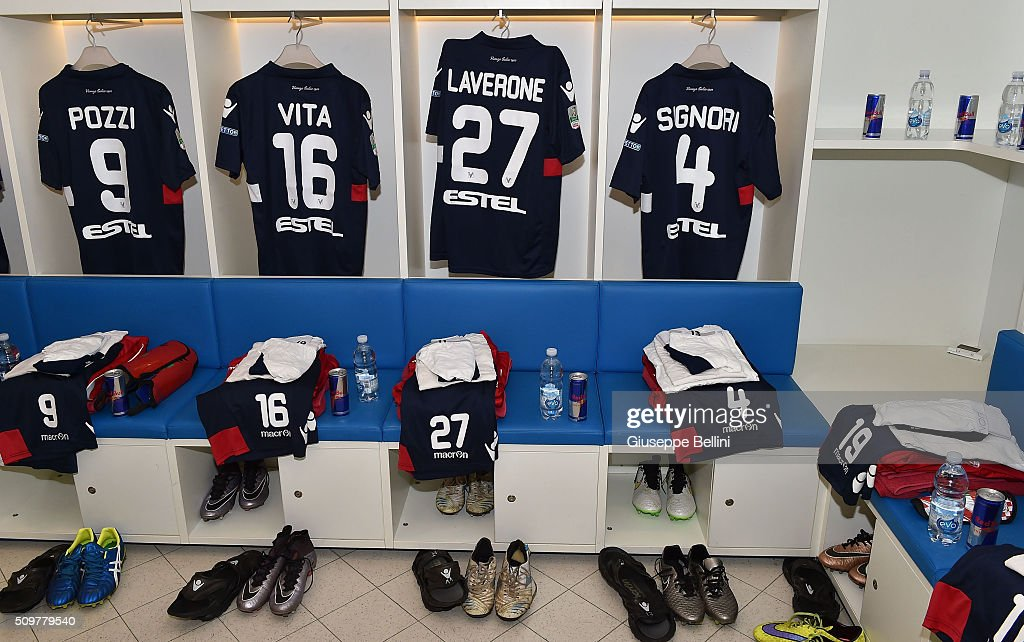 A general view of the dressing room of Vicenza Calcio prior to the Serie B match between Pescara Calcio and Vicenza Calcio at Adriatico Stadium on February 12, 2016 in Pescara, Italy.