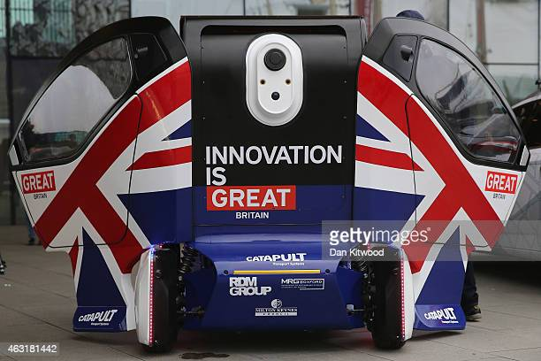 A general view of the driverless 'Lutz Pathfinder' pod vehicle on February 11 2015 in London England A series of trials is due to start in the UK...
