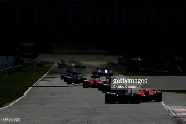 A general view of the drivers in action during the Formula One Grand Prix of Italy at Autodromo di Monza on September 6 2015 in Monza Italy