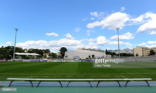 General view of the dugout areas at the Stade De Lattre during the Toulon Tournament match between Japan and Portugal at Stade De Lattre on May 23...