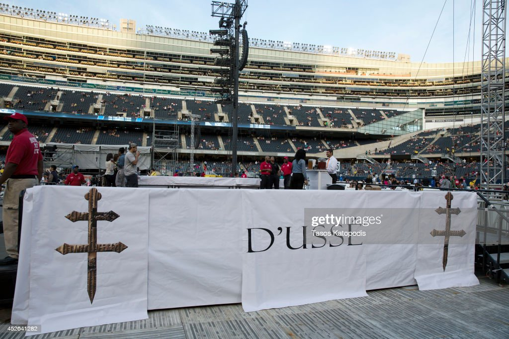 General view of the D'USSE VIP Riser and Lounge at On The Run Tour Chicago at Soldier Field on July 24, 2014 in Chicago, Illinois.