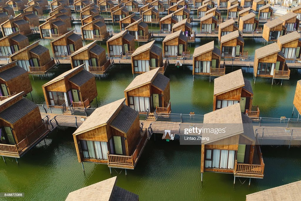 A general view of the dutch-style cabins of Yue Tuo Island Resort near Laoting on September 18, 2017 in Tangshan, China.