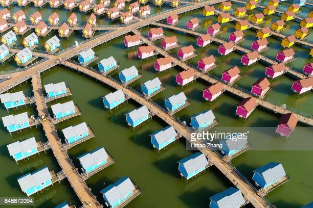 A general view of the dutchstyle cabins of Yue Tuo Island Resort near Laoting on September 18 2017 in Tangshan China