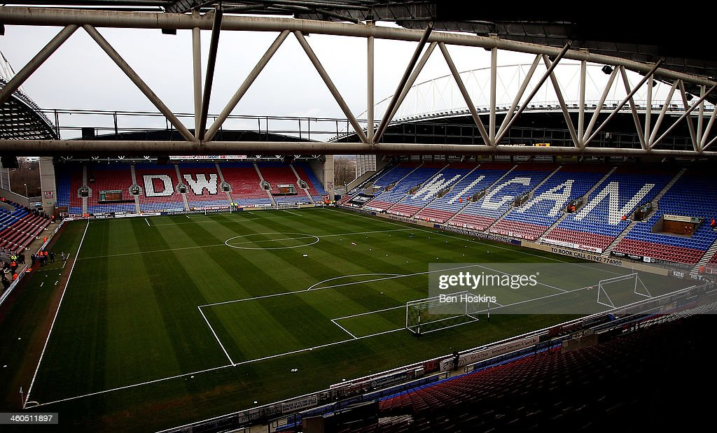 General view of the DW Stadium prior to the Budweiser FA Cup Third Round match between Wigan Athletic and Milton Keynes Dons at DW Stadium on January...