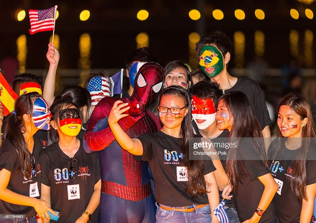 A general view of the Earth Hour Kick-Off with Spider-Man, The First Super Hero Ambassador for Earth Hour, the global movement organized By WWF (World Wide Fund For Nature) on March 29, 2014 in Singapore. #spiderman