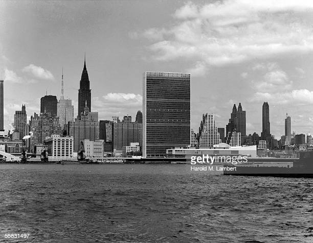 General view of the East Midtown skyline from across the East River looking West New York New York 1950s or 1960s Prominant structures include the...