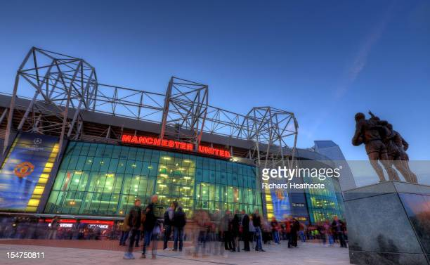 A general view of the East Stand at Old Trafford the home of Manchester United before the UEFA Champions League match between Manchester United and...