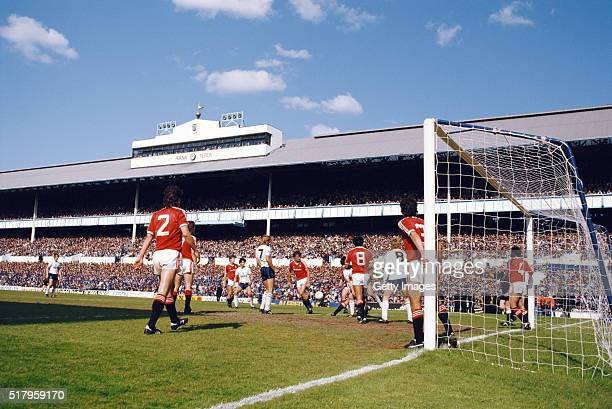 A general view of the East stand at White Hart Lane during a First Division match between Tottenham Hotspur and Manchester United at White Hart Lane...