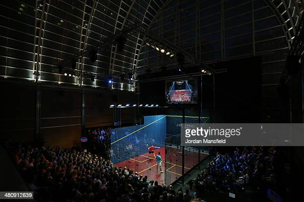 A general view of the East Wintergarden during the semifinals of the Canary Wharf Squash Classic on March 27 2014 in London England