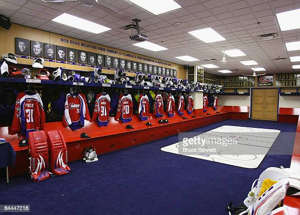 General view of the Eastern Conference AllStars locker room before the 2009 NHL AllStar game at the Bell Centre on January 25 2009 in Montreal Canada