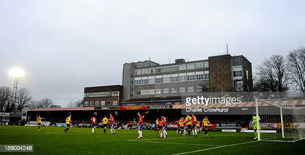 A general view of The EBB Stadiums during the FA Cup with Budweiser Third Round match between Aldershot Town and Rotherham United at The EBB Stadium...
