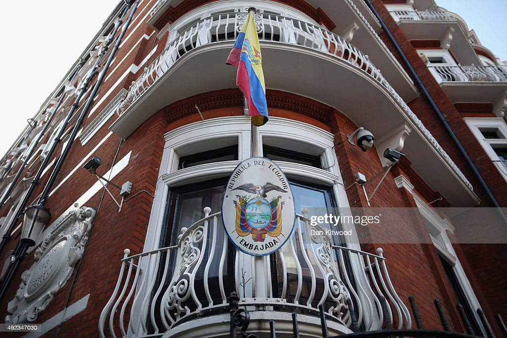 A general view of the Ecuadorian Embassy on October 12, 2015 in London, England. After a cost of around £11M GBP, the police presence has been removed from outside the Ecuadorian embassy. Scotland Yard says it still intends to arrest the WikiLeaks founder Julian Assange if he leaves the building, but said that it was no longer proportionate to monitor it 24 hours a day.
