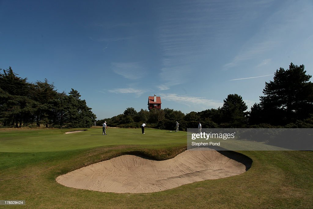A general view of the eighteenth green during the PGA Super 60's Tournament at Thorpeness Hotel and Golf Club on August 29, 2013 in Thorpeness, England.