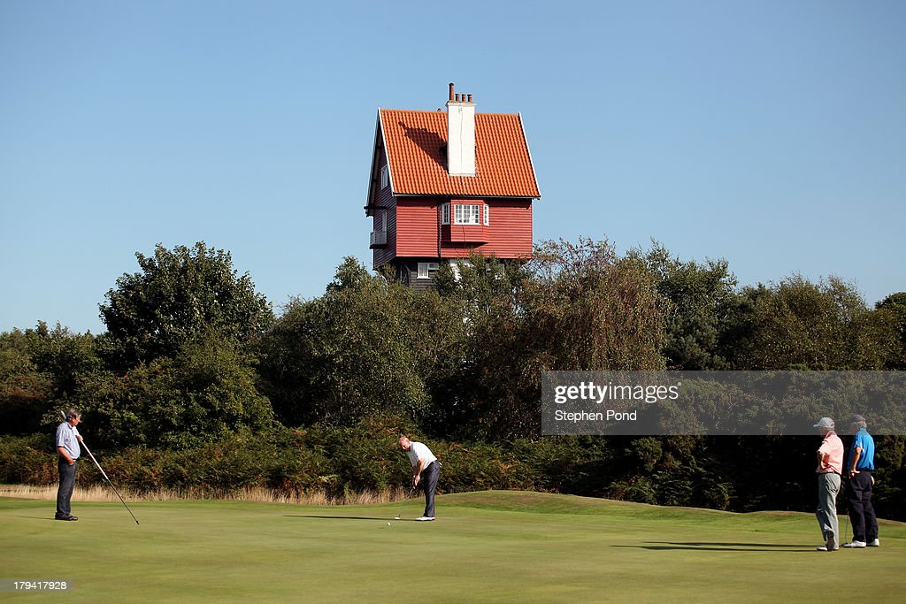 A general view of the eighteenth green during the PGA Super 60's Tournament at Thorpeness Hotel and Golf Club on August 30, 2013 in Thorpeness, England.