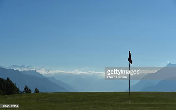 A general view of the eighth green prior to the start of the Omega European Masters at CranssurSierre Golf Club on September 2 2014 in CransMontana...