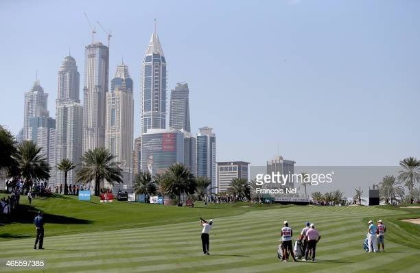 A general view of the eighth hole during the Champions Challenge as a preview for the 2014 Omega Dubai Desert Classic on January 28 2014 in Dubai...