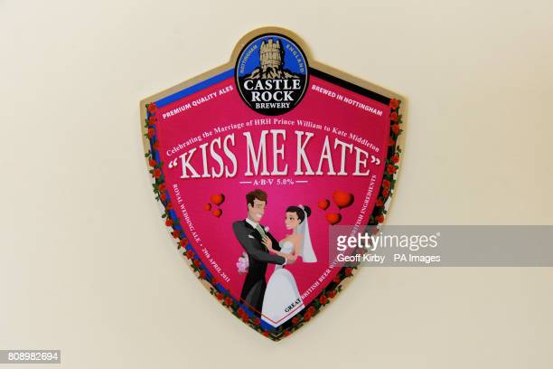 A general view of the emblem for Castle Rock Brewery's traditional ale Kiss Me Kate at the brewery in Nottingham