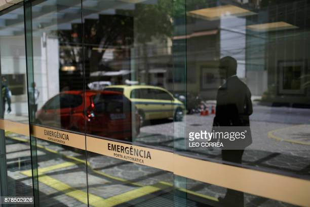 General view of the emergency entrance of the Samaritano hospital where an US viceconsul in Brazil who was shot in the foot during an attempted...