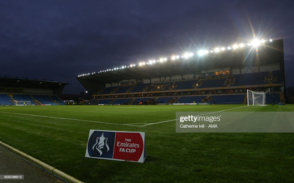 General view of The Emirates FA Cup branding during the Emirates FA Cup Second Round match between Oxford United and Forest Green Rovers at Kassam...