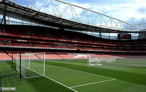 A general view of the Emirates Stadium before the Barclays Premier League match between Arsenal and Norwich City at on April 30th 2016 in London...