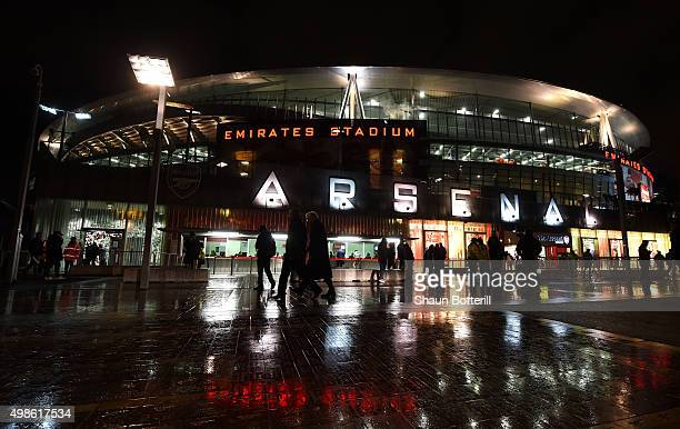 A general view of the Emirates Stadium prior to the UEFA Champions League match between Arsenal FC and GNK Dinamo Zagreb at Emirates Stadium on...