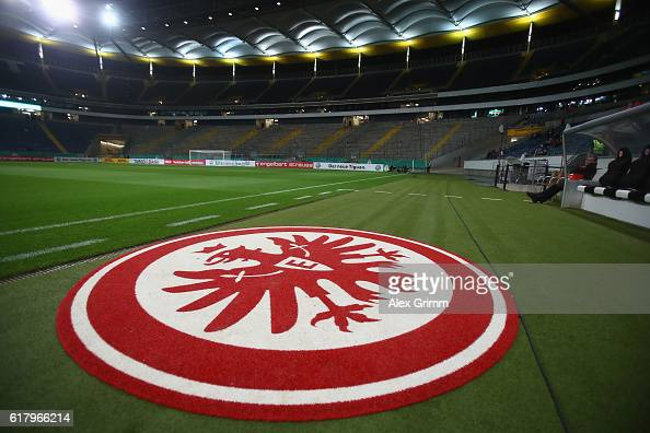A general view of the empty northern stand prior to the DFB Cup Second Round match between Eintracht Frankfurt and FC Ingolstadt at CommerzbankArena...