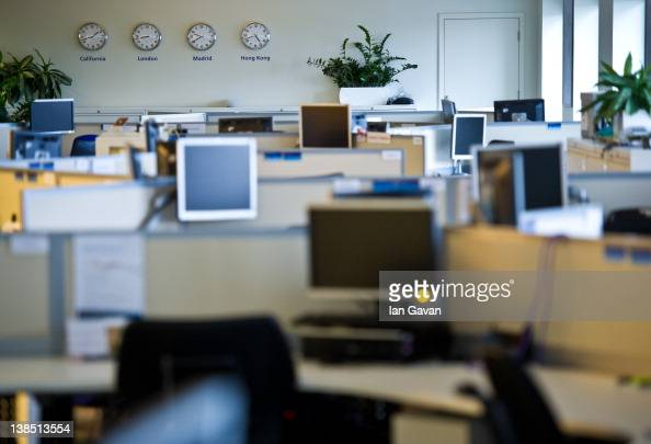 General view of the empty O2 offices during their flexible working pilot scheme on February 8 2012 in Slough England O2 announced the launch of the...