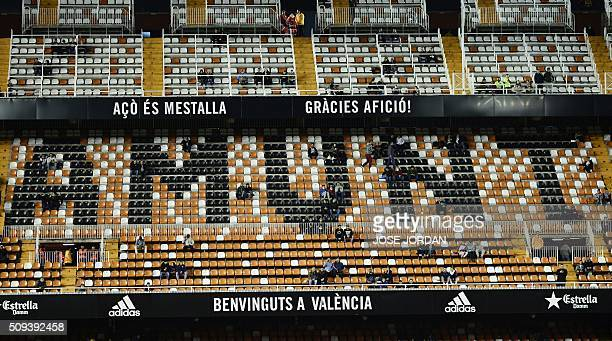 General view of the Empty Stadium during the Spanish Copa del Rey semifinal second leg match Valencia CF vs FC Barcelona at the Mestalla stadium in...