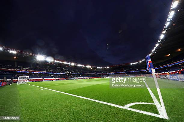 A general view of the empty stadium prior to the Group A UEFA Champions League match between Paris SaintGermain Football Club and Fussball Club Basel...