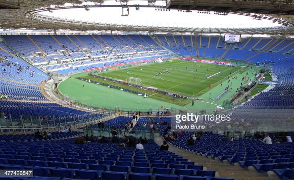 A general view of the empty stands of Stadio Olimpico during the Serie A match between SS Lazio and Atalanta BC at Stadio Olimpico on March 9 2014 in...