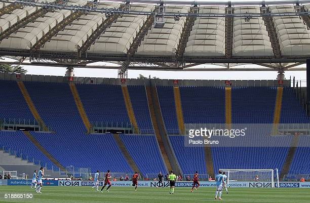 A general view of the empty stands of the Stadio Olimpco as the supporters boycotting the Serie A match between SS Lazio and AS Roma at Stadio...