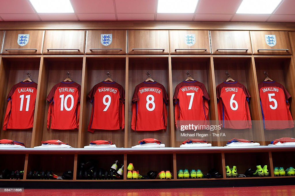 General view of the England dressing room ahead of the International Friendly match between England and Australia at Stadium of Light on May 27, 2016 in Sunderland, England.