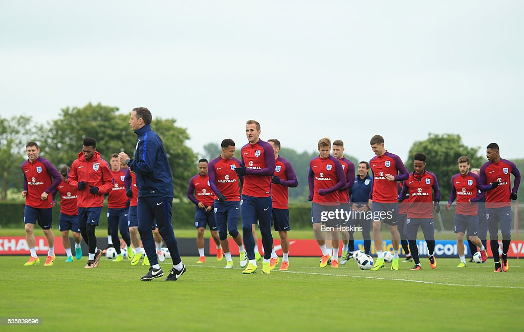 General view of the England squad warming up during an England training session at London Colney on May 30, 2016 near St Albans, England.