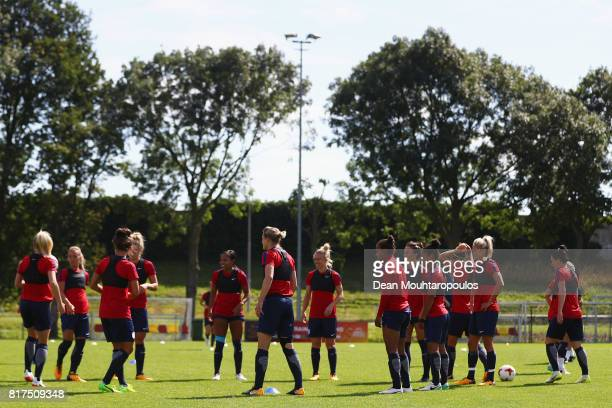 A general view of the England women's national team in action during a training session on the eve of their UEFA Women's 2017 Group D match...