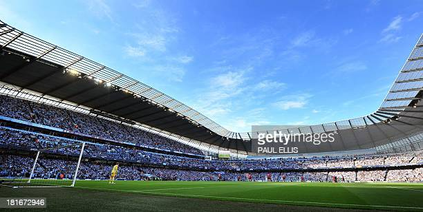 A general view of the English Premier League football match between Manchester City and Manchester United at The Etihad Stadium in Manchester north...
