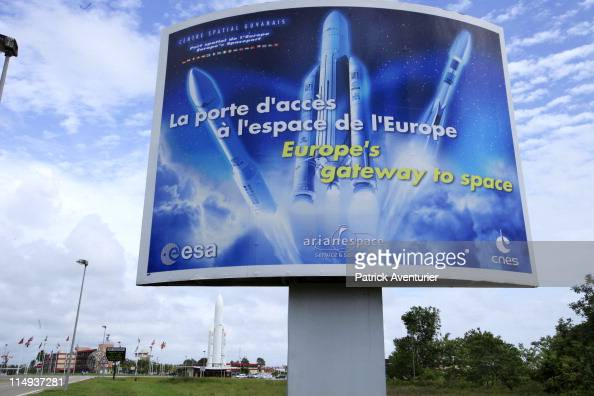 A general view of the entrance and exterior of the European Spaceport on May 2 2011 in Kourou French Guiana Ariane 5 launched on May 21 2011 from the...